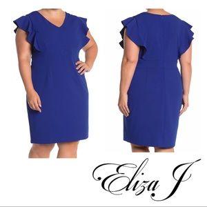 Eliza J Ruffled Cap Sleeve Dress